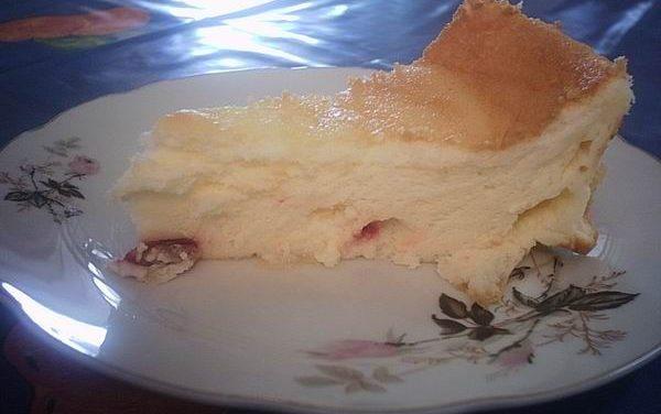 עוגת גבינה אפויה עם אוכמניות מיובשות